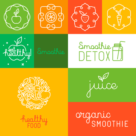 Vector set of icons, design elements and hand-lettering in trendy linear style for organic and natural juice and smoothie packaging - labels and logo design templates