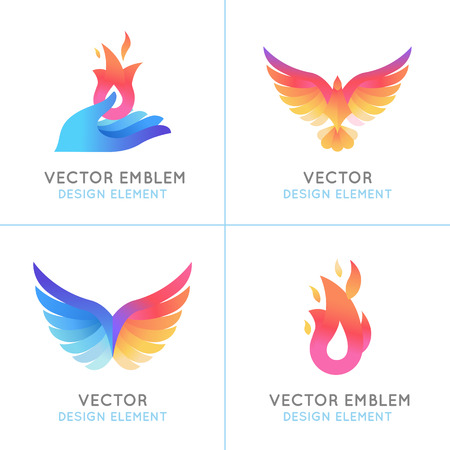 Vector set of abstract concepts, logo design concepts and emblems in bright gradient colors - phoenix birds and fire icons