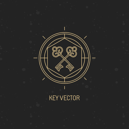 Vector abstract emblem in trendy linear style with key icon - secret and mystic concept