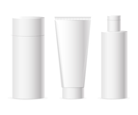Vector set of cosmetics packages and bottle in white color with copy space for labels and badges