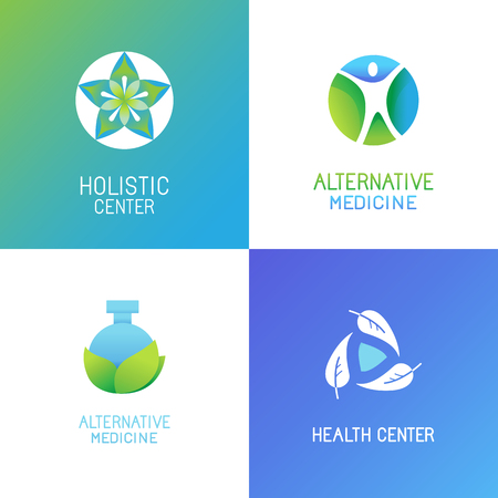 Vector set of emblems and logo design templates in bright gradient colors - alternative medicine and wellness centers - tree and herbal icons and concepts