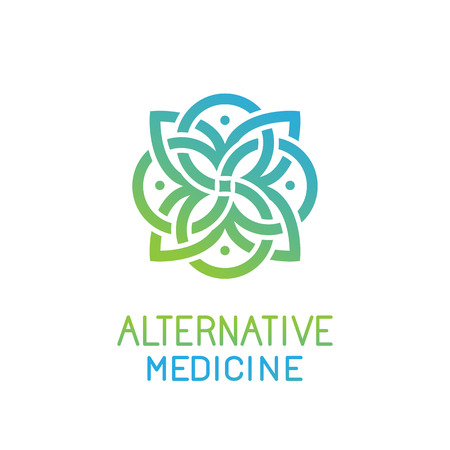 Vektor für abstract design template for alternative medicine, health center and yoga studios - emblem made with leaves and lines - Lizenzfreies Bild
