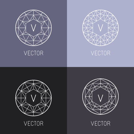 Illustration for set of abstract jewelry design templates and monogram templates in trendy linear style - diamonds and gems - Royalty Free Image