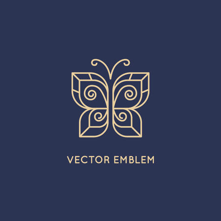 Illustration for Vector abstract logo design template in trendy linear style - butterfly icon - beauty and cosmetics concept - Royalty Free Image