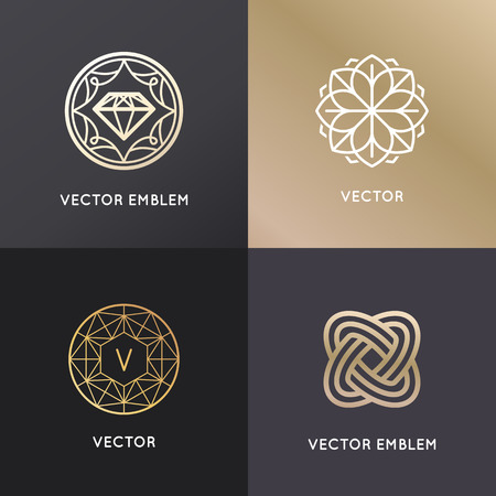 Vector  design templates and badges in trendy linear style - jewelry and luxury concepts