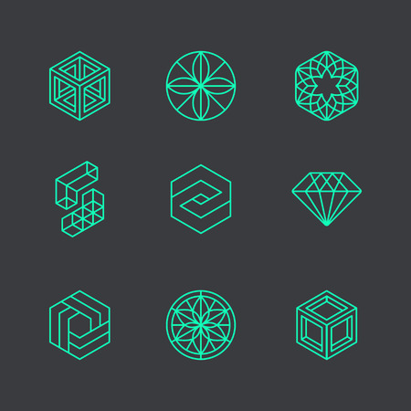 Photo for Vector abstract modern logo design templates in trendy linear style - cubes and diamonds - minimal geometric concepts and badges - Royalty Free Image