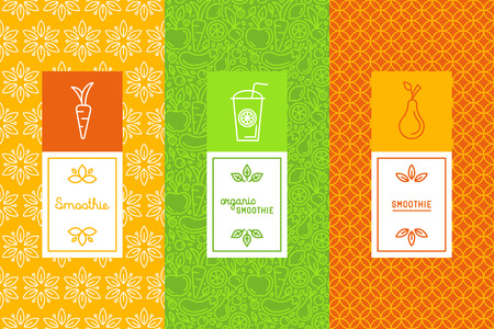 Vector set of design elements, icons and hand-lettering in trendy linear style - logo design templates and concepts for packaging and labels for fresh juices, diet smoothie and healthy foodのイラスト素材
