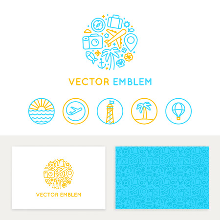 Photo for Vector logo template, business card design and linear emblems and icons - travel agency and tour guide - Royalty Free Image