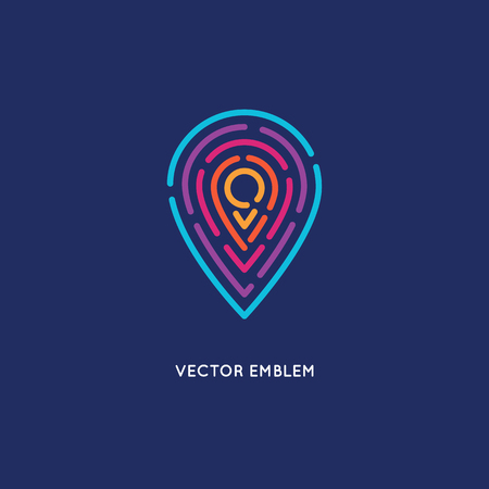 Illustration for Vector abstract logo design template in trendy linear style - location and navigation concept for travel agency, tourism industry - Royalty Free Image