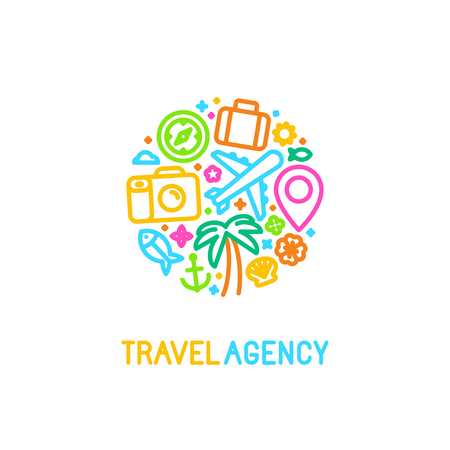 Ilustración de Vector logo design template in trendy linear style with icons - travel agency emblem and tour guide concepts - Imagen libre de derechos