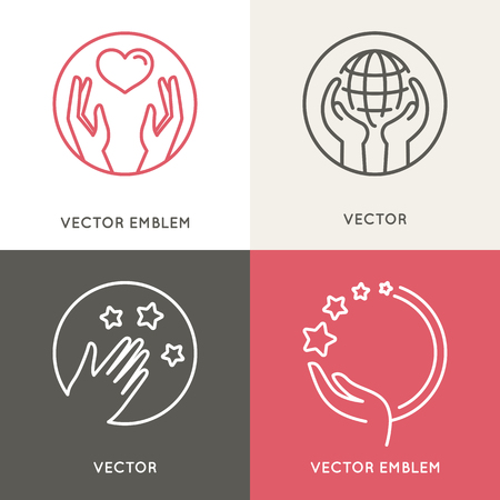Illustration for Vector charity and volunteer concepts - Royalty Free Image