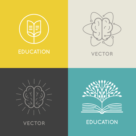 Illustration pour Vector abstract logo design template - online education and learning concept - book emblem and brain icons  - emblem for courses, classes and schools - image libre de droit
