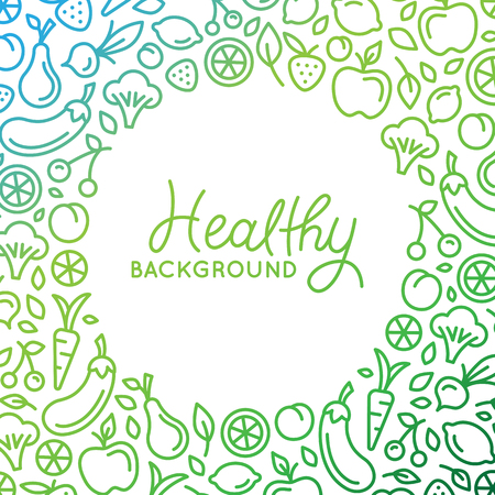 Ilustración de Vector background  design template in trendy linear style with copy space for text and fruit and vegetable icons - healthy store, vegan and natural food product concept - Imagen libre de derechos