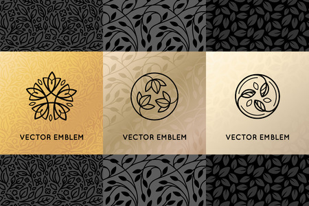 Ilustración de Vector set of design elements, labels and frames for packaging for luxury products in trendy linear style - simple and bright background made with golden foil on black background with copy space for text for beauty, jewelry and cosmetics - Imagen libre de derechos