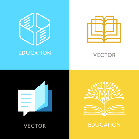Vector set of abstract logo design templates- online education and learning concepts - book emblems and brain icons  - emblems for courses, classes, schools and online publishers