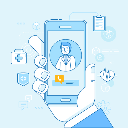 Ilustración de Vector illustration in linear flat style and blue colors - online and tele medicine concept - hand holding mobile phone with app for healthcare - online consultation with doctor - Imagen libre de derechos