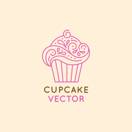 Vector design of sweet cupcake for confectionery store, bakery and cafe businesses