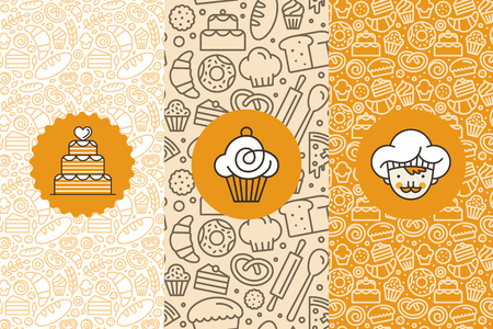 Illustration for Vector set of design templates and elements for bakery packaging in trendy linear style - seamless patterns with linear icons related to baking, cafe, cupcake shop and logo design templates. - Royalty Free Image