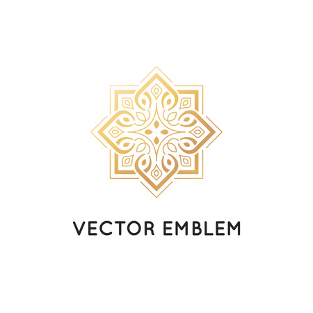 Illustration pour Vector icon design template, abstract symbol in ornamental Arabic style. Emblem for luxury products, hotels, boutiques and more. - image libre de droit