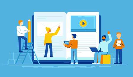 Illustration pour Vector illustration in flat style - online education concept - small people studying near big tablet pc with e-book and online course - image libre de droit