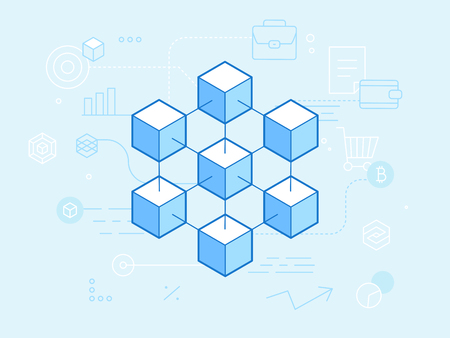 Illustration pour Vector flat linear illustration in blue colors - blockchain and cryptocurrency concept -  abstract financial technology background and banner - image libre de droit