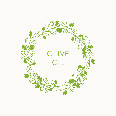 Illustration for Vector linear frame and badge design for packaging for olive oil products, natural and organic cosmetics and beauty products - abstract logo template with copy space for text and leaves - Royalty Free Image