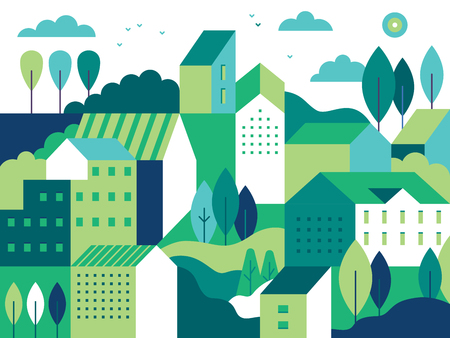 Ilustración de Vector illustration in simple minimal geometric flat style - city landscape with buildings, hills and trees - abstract background for header images for websites, banners, covers - Imagen libre de derechos