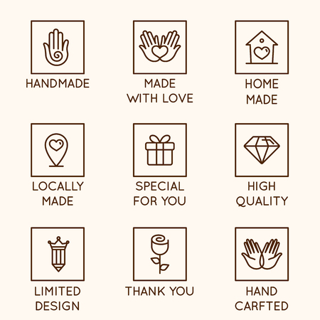 Illustration pour Vector set of design elements, logo design template, icons and badges for hand made goods and products in linear style - handmade, made with love, home made, locally made, special for you, high quality, limited design, hand crafted - image libre de droit