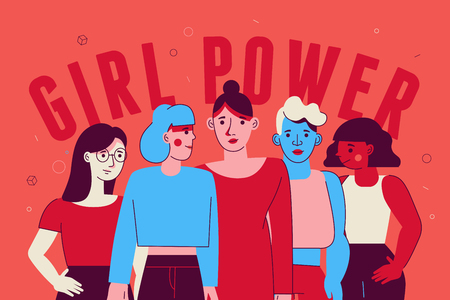 Illustration pour Vector illustration in trendy flat linear minimal style  with female characters - girl power and feminism  concept  - diverse women standing together - image libre de droit