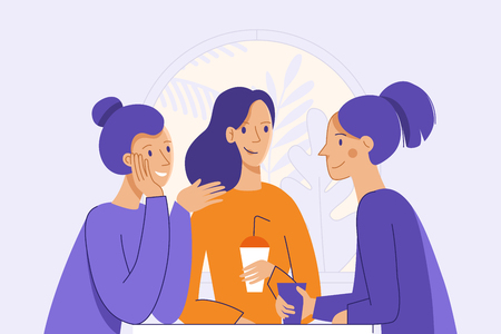 Ilustración de Vector illustration in flat linear style - female friends drinking coffee and chatting - cartoon characters  sitting at table in the cafe - Imagen libre de derechos