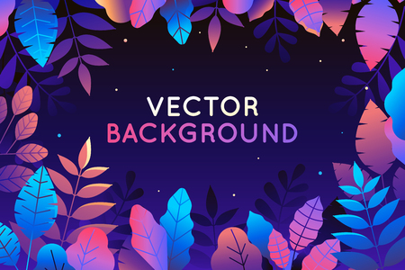 Ilustración de Vector illustration in trendy flat style and bright vibrant gradient colors - background with copy space for text - plants, leaves, trees and sky - background for banner, greeting card, poster and advertising - magic forest - Imagen libre de derechos