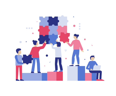 Illustration for Vector illustration in simple flat style - teamwork and development concept - people holding  puzzle pieces - banner and infographics design template - Royalty Free Image