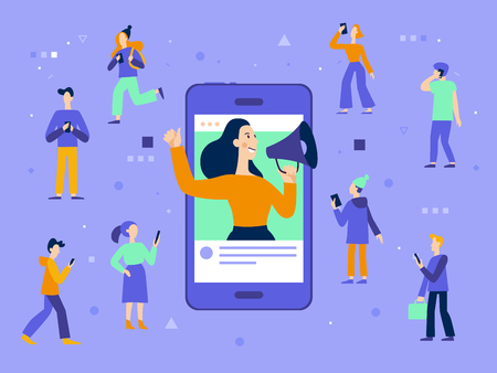 Ilustración de Vector illustration in flat simple style with characters - influencer marketing concept - blogger promotion services and goods for her followers online - Imagen libre de derechos