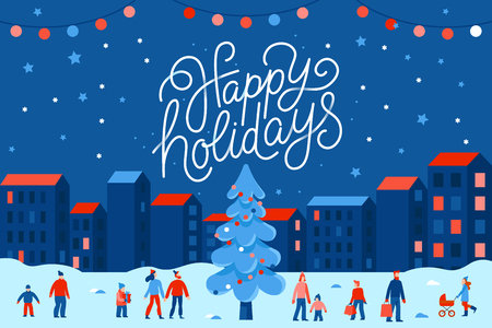 Ilustración de Vector illustration in flat simple style with hand lettering happy holidays -  Christmas greeting card, banner, poster with people at festival seasonal market and fair at town square - Imagen libre de derechos