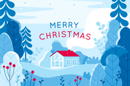 Ilustración de Vector illustration in trendy flat simple style - Merry  Christmas and Happy New Year greeting card and banner - winter landscape with house - Imagen libre de derechos
