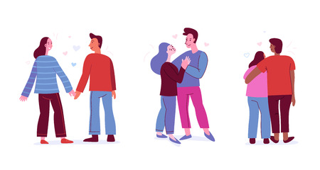 Illustration for Vector illustration in flat simple style with characters - people in love - valentine's day greeting card - happy couples - Royalty Free Image