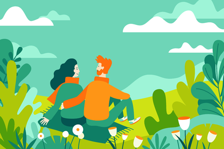 Illustration pour Vector illustration in flat linear style - spring illustration - landscape illustration with couple in love - exploring nature and trekking together - greeting card design template  - image libre de droit