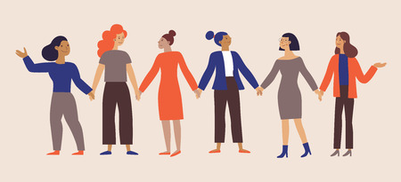 Ilustración de Vector illustration with phrase  girl power - feminist movement - stronger together - concept for prints, t-shirts, cards - happy women with banner  - international women's day - Imagen libre de derechos