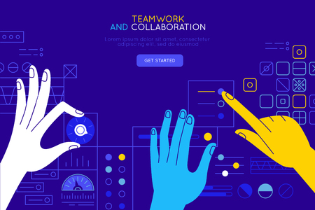 Illustration pour Vector illustration in simple flat style with hands and abstract user interface - teamwork and collaboration concept - tuning and developing app for business, online education platform, marketing and advertising system - image libre de droit