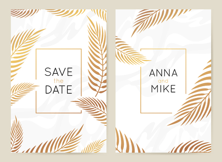 Ilustración de Vector design template in simple modern style with copy space for text - wedding invitation background and frame, luxury stationery and greeting card design with palm leaves and golden border - Imagen libre de derechos