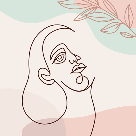 Illustration for Vector illustration in continuous line style - minimalistic female portrait - abstract concept for t-shirt print, beauty blogs and posts - Royalty Free Image
