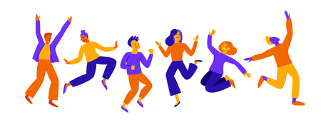 Illustration pour Vector illustration in flat simple style - happy jumping team - smiling men and women - victory, teamwork and cooperation concept - happy and joyful people - image libre de droit