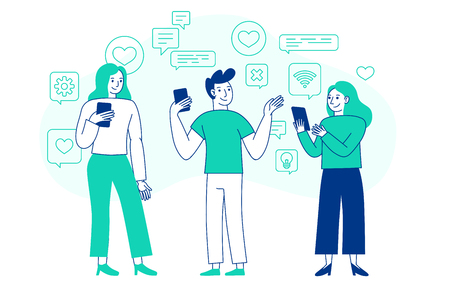 Illustration pour Vector illustration in flat simple style with characters - influencer marketing concept - bloggers using mobile phones and social media to promote services and goods for followers online - image libre de droit