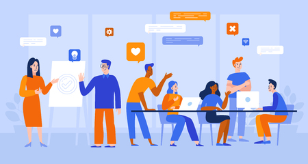 Illustration pour Vector illustration in flat simple style with characters - app and software development - people working together - team of computer programmers, graphic and interface designers, project managers  - image libre de droit