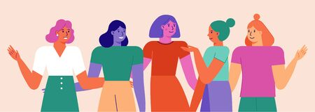 Illustration pour Vector illustration with female characters  - feminist movement and girl power concept  - stronger together happy diverse women - international women's day - image libre de droit