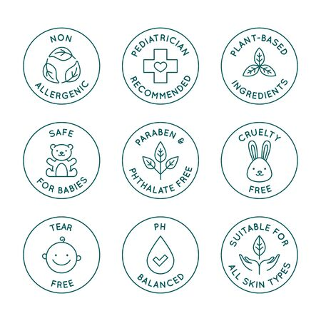 Ilustración de Vector set of design elements,  design templates, icons and badges for natural and organic cosmetics and skincare for babies in trendy linear style - safe for newborns products -  pediatrician recommended, cruelty and tear free - Imagen libre de derechos