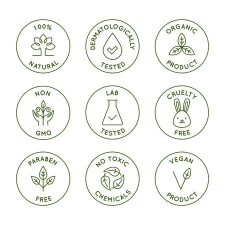 Ilustración de Vector set of design elements, design templates, icons and badges for natural and organic cosmetics packaging in trendy linear style - 100% natural, dermatologically and lab tested, vegan and cruelty free - Imagen libre de derechos