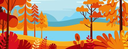 Illustration pour Vector illustration in simple minimal flat style - autumn landscape with hills and trees - abstract horizontal banner and background with copy space for text - header images for websites, covers - image libre de droit