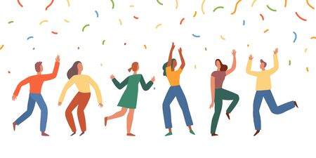 Vector illustration in flat simple style - happy jumping team - smiling men and women dancing - victory, teamwork and cooperation concept - happy and joyful people