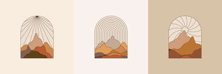 Illustration pour Vector illustration in simple line style - boho abstract print - simple natural landscape with mountains and hills - image libre de droit